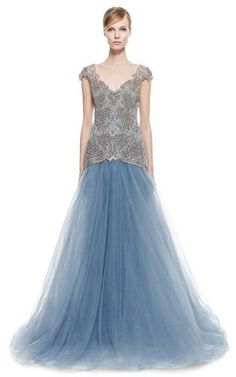 Embroidered Drop Waist Ball Gown by Marchesa for Preorder on Moda Operandi