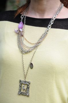 Vera Wang layered necklace and poodle necklace