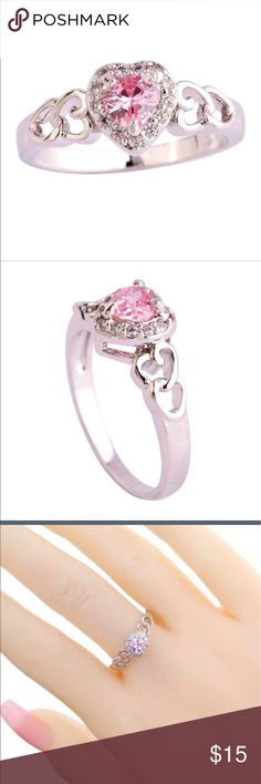 Pretty Silver Plated Pink Heart Ring NWT This ring is so feminine and pretty. It bought one for myself and selling this one💕 No box Jewelry Rings