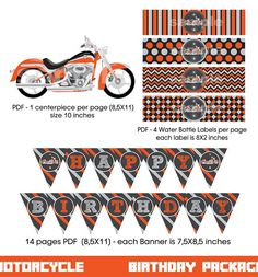 Motorcycle Birthday Party package Digital printable | Etsy Printable Invitations, Birthday Invitations, Printables, Motorcycle Birthday Parties, Water Bottle Labels, Thank You Tags, Biker, Handmade Items, Packaging