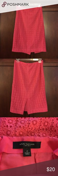 Ann Taylor Coral lace overlay pencil skirt Ann Taylor beautiful coral lace overlay  lined pencil skirt.  Perfect color for spring and summer.  Gently worn. Ann Taylor Skirts Pencil