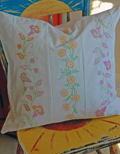 Embroidered pillow made from vintage pillow cases