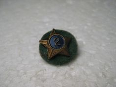 Vintage Boy Scout Gold Tone Star with Enameled No. 2 Brooch/Lapel Pin, Gold Tone
