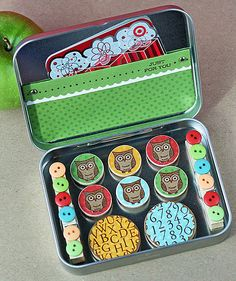 DIY Magnets and gift card in tin box - I like this idea for giving a gift card.
