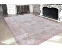 Vintage vloerkleed   wollen vloerkleed in roze