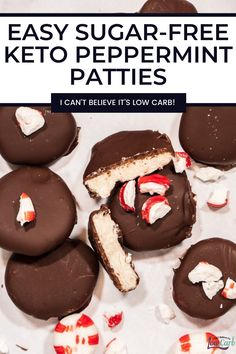 This is a recipe for homemade keto peppermint patties from I Can't Believe It's Low Carb which are really easy to make, and taste so good you'll never know they are sugar-free. If you like peppermint patties you will love these! These keto candies will be a family favorite. #recipe #keto #easy #sugarfree #peppermint #lowcarb #ketocandy Low Sugar Cakes, Low Sugar Desserts, Healthy Desserts, Baking Recipes, Cookie Recipes, Dessert Recipes, Keto Recipes, Healthy Recipes, Ketogenic Desserts