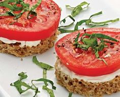 Tomato & Basil Finger Sandwiches.  I could also make these with/without the basil as a BLT finger sandwich