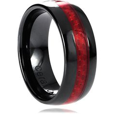 Vance Co. Ceramic Red Carbon Fiber Inlay Band ($32) ❤ liked on Polyvore featuring men's fashion, men's jewelry, men's rings, mens ceramic rings, mens two tone wedding rings, mens band rings and mens rings