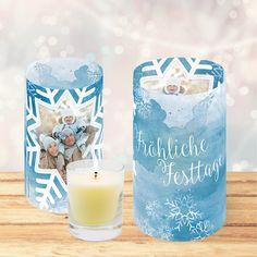 Weihnachtskarte 830 als Windlicht für Teelicht in Aquarell-Optik Pillar Candles, Xmas Cards, Watercolour, Taper Candles, Candles