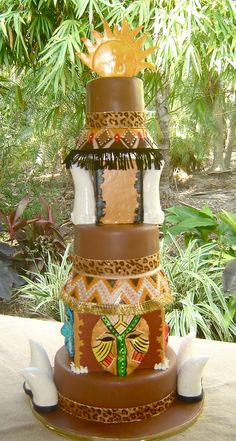 African theme African Wedding Cakes, African Wedding Dress, African Weddings, African Cake, African Theme, Traditional Wedding Cake, Traditional Cakes, Pretty Cakes, Beautiful Cakes