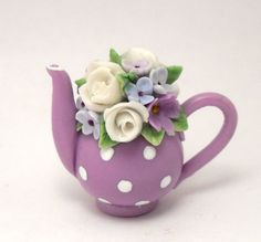 1/12TH scale   flowers and dots  teapot nr 49 by Lory by 64tnt