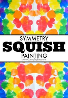 Symmetry Squish Painting Process Art. Fun painting project for preschoolers, kindergartners, or elementary students to combine math and art.