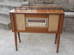 1964 Maple Packard Bell AM/FM tube stereo with Bluetooth and tambour doors by Angeetiques on Etsy