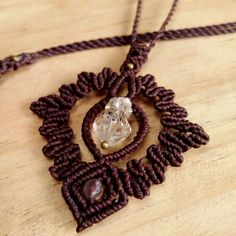 Macrame Necklace Pendant Raw Herkimer Diamon Quartz Stone Waxed Handmade #Handmade #Wrap
