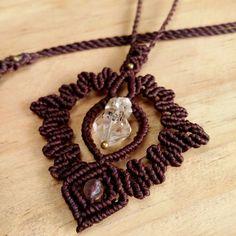 Macrame Necklace Pendant Raw Herkimer Diamon Quartz Stone Waxed Handmade #Handmade #Wrap