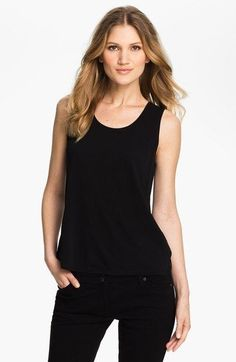 NEW Eileen Fisher Black Scoop Neck Silk Tank Size PP #EileenFisher #Tank #Casual