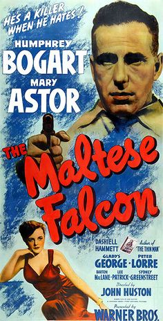 Humphrey Bogart Movie Poster The Maltese Falcon 1941 Warner Bros Litho Vintage Renewed 1969 United Artists RARE Print Continental Litho Corp Humphrey Bogart, Bogart And Bacall, Old Movie Posters, Classic Movie Posters, Cinema Posters, Classic Films, Old Movies, Vintage Movies, Famous Movies