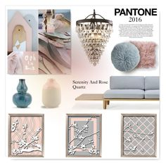 """Muted Serenity and Rose Quartz"" by drenise ❤ liked on Polyvore featuring interior, interiors, interior design, home, home decor, interior decorating, House Doctor, Kravet, Universal Lighting and Decor and Bloomingville"
