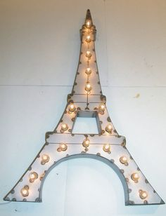 Vintage Industrial Paris Eiffel Tower Metal Art Light Sculpture - I think you could make this with cardboard and twinkle lights