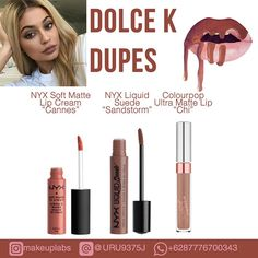 Kylie Lip Kit Dolce K drugstore dupes compiled by Makeuplabs