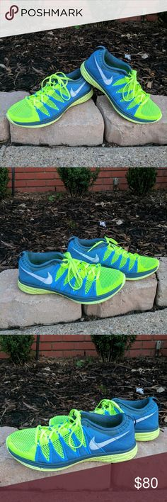 Men's Flyknit lunar LIKE NEW!! GENTLY WORN!! Awesome Nike Flyknit running shoes sure to turn heads. Blue and neon green. Men's size 9.5 Nike Shoes Athletic Shoes