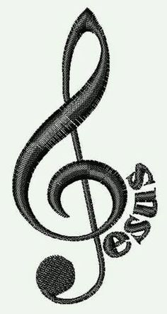 Jesus Musical Note embroidery design - I used to have a key chain like this. Embroidery Designs, Notes Design, Music Tattoos, Tatoos, Bone Tattoos, Music Decor, Treble Clef, Christian Music, Music Lovers