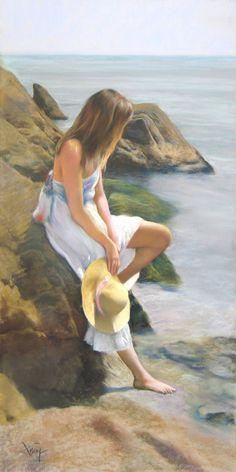 Gomez, Domingo Alvarez (Uses Just- Domingo - b, Woman on Rocky Beach, II Painting People, Woman Painting, Figure Painting, Watercolor Illustration, Watercolor Art, Painted Ladies, Girl With Hat, Beach Art, Beautiful Paintings