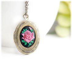 Fuschia Rose Oval Locket Necklace for LAUREN