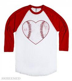 Baseball love.  Printed on American Apparel Unisex Baseball Tee
