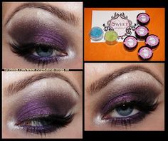 """From Easy Makeup Blogg """"Just wanted to say a HUGE thank you Sweet Minerals. ♥ I was so lucky to recieve these AMAZING eyeshadows from you! ♥ them all! For this look I used Sparkle Fluff on my browbone and the inner corners of my eye, Ravenberry on the lid/lower lashline, and poppyseed delight in the crease and as a liner. Let me just say, that these are some of the BEST eyeshadows I have ever tried! Thank you sooo much! ♥"""""""
