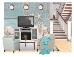 """""""Beachy Basement"""" by jasmine-arminda ❤ liked on Polyvore featuring interior, interiors, interior design, home, home decor, interior decorating, Jayson Home, Design Within Reach, Pillow Perfect and Votivo"""