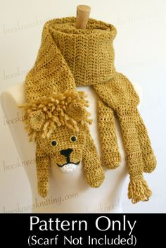 PDF Crochet Pattern for Lion Scarf - DIY Fashion Tutorial. $6.00, via Etsy.