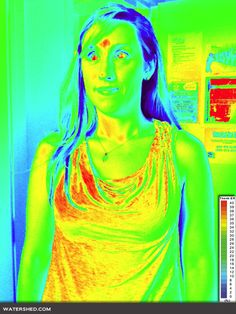 False thermography of a drunk effect, photoshopping of a picture.