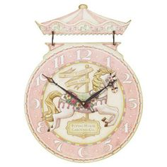 """Timeworks Clocks Carousel Horse 17"""" Wall Clock. Clock is 13"""" round & the overall height is 17""""."""
