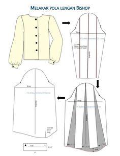 Dress Sewing Patterns, Clothing Patterns, Pola Lengan, Pola Rok, Sewing Sleeves, Pattern Draping, Collar Pattern, Sleeve Pattern, Sleeves Designs For Dresses