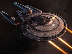 Star Trek Online, the free-to-play massively multiplayer PC game based on the old sci-fi TV and film franchise, has launched for the Xbox One and PlayStation 4 consoles. Star Trek Online, Spaceship Design, Spaceship Concept, Spaceship Art, Star Trek Fleet, Scotty Star Trek, Starfleet Ships, United Federation Of Planets, Star Trek Characters