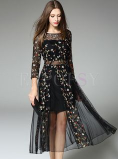 Shop for high quality Embroidery Fake Two Piece Stylish Skater Dress online at cheap prices and discover fashion at Ezpopsy.com