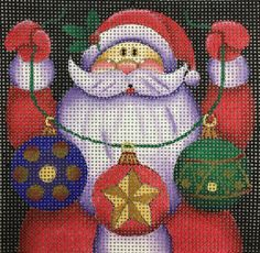 """How cute is our jolly Santa?! Santa Ornament 2 canvas by Maggie on 18ct 4""""x4"""" #Christmas #Needlepoint #Stitch"""
