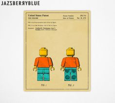 GICLEE fine art print, Retro pop art for the home decor, Art for kids, LEGO MAN Patent (Beige Version)