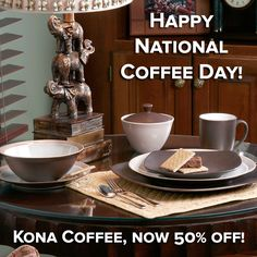 "Happy National Coffee Day! The gorgeous Kona Coffee is now 50% off at NoritakeChina.com - the perfect ""brew"" of brown neutrals. http://noritakechina.com/kona-coffee.html #noritake #sale #coffee #kona #dinnerware #tablescape"