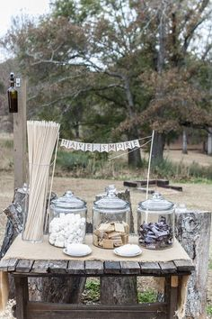 S'mores Bar: Vintage Georgia Plantation Wedding Wedding Real Weddings Photos on WeddingWire Backyard Wedding Decorations, Diy Outdoor Weddings, Unique Weddings, Real Weddings, Wedding Backyard, Wedding Bonfire, Romantic Weddings, Bonfire Decorations, Backyard Bonfire Party