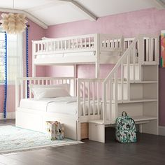 Viv + Rae Shyann Staircase Twin Over Full Bunk Bed with Shelves Bed Frame Color: White - Viv + Rae Shyann Staircase Twin Over Full Bunk Bed with Shelves Bed Frame Color: White - Bunk Beds With Drawers, Wood Bunk Beds, Bunk Bed With Trundle, Full Bunk Beds, Bunk Beds With Stairs, Full Bed, Corner Bunk Beds, Bunk Bed Sets, Bunk Beds For Girls Room