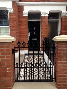 Paving victorian mosaic tile path and gate. Red Brick House, House With Porch, Brick Exterior House, Garden Design London, Small Front Gardens, House Front, Victorian Terrace House, Front Garden Design, House Exterior