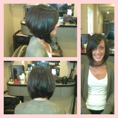 Layered Trendy Bob with side swept bang..