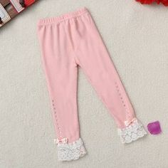 Baby Children Girls Princess Bow Lace Leggings Tights Pants