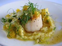 Seared Sea Scallops with a Roasted Fennel and Garlic Cream, and Salad of Shaved Fennel, Mint, Oranges, and Fennel Fronds.