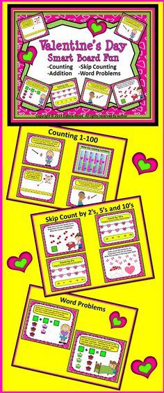 Valentine's Day Smart Board Counting & Addition:  Preschool & Kinder