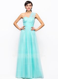 JJs A-Line/Princess One-Shoulder Floor-Length Tulle Charmeuse Bridesmaid Dress With Ruffle (007056716)