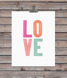 LOVE art print  - 11 x 14 - vintage type - word art. $22.00, via Etsy.