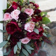 Blush & Merlot wedding flowers by Valley House of Flowers